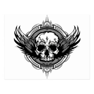 Skull With Wings And Tribal Outline Ornate Postcard