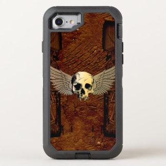 Skull with wings on dark background OtterBox defender iPhone 7 case
