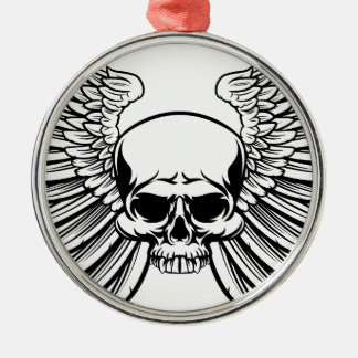 Skull with Wings Silver-Colored Round Decoration