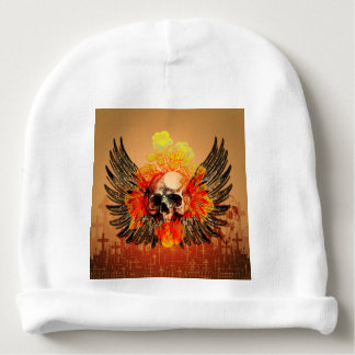 Skull with wonderful roses and wings baby beanie