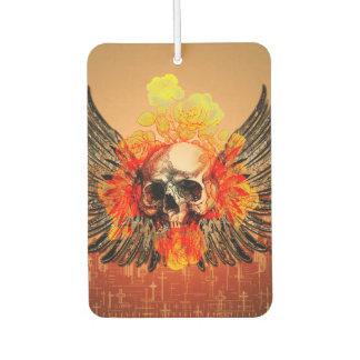 Skull with wonderful roses and wings car air freshener