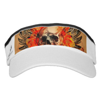 Skull with wonderful roses and wings visor