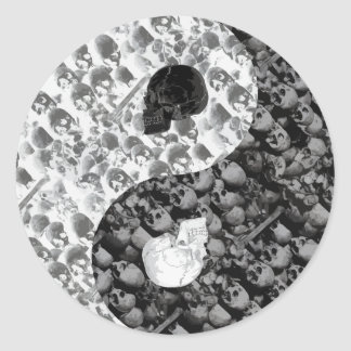 Skull Yin Yang Round Sticker