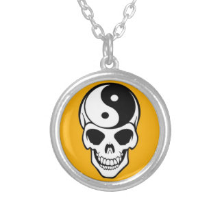 Skull & Yin Yang Silver Plated Round Necklace
