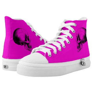 Skull  Zipz High Top Shoes,Pink