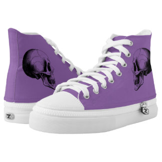 Skull  Zipz High Top Shoes,Purple