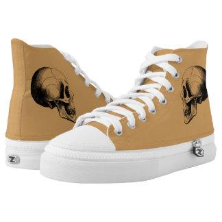 Skull  Zipz High Top Shoes,Tan Printed Shoes