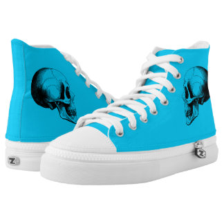 Skull  Zipz High Top Shoes,Turquoise Printed Shoes