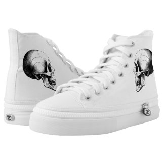Skull  Zipz High Top Shoes,White