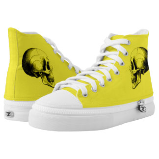 Skull  Zipz High Top Shoes,Yellow