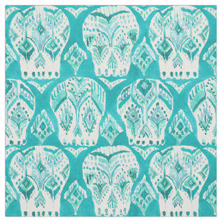 SKULLAGOG Aqua Boho Chic Ikat Skull Pattern Fabric