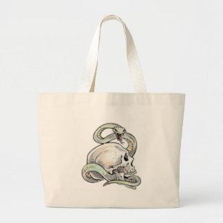 skullitan n' snake large tote bag
