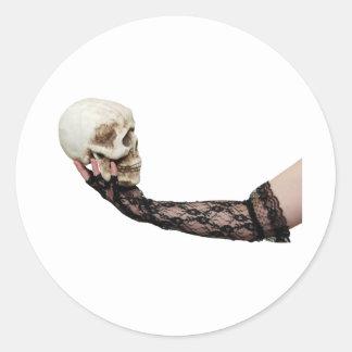 SkullLace040309 Round Sticker