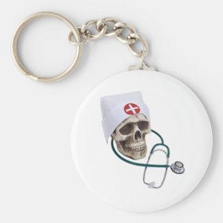 SkullNurse082309 Basic Round Button Key Ring