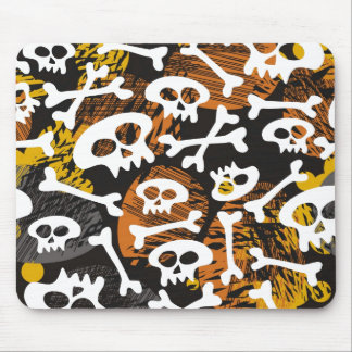 skulls and bones on messy background mouse pad