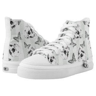 Skulls and butterflies high tops