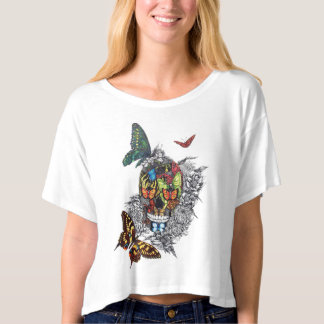 Skulls and Butterflies Printed Tee