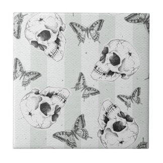 Skulls and butterflies small square tile
