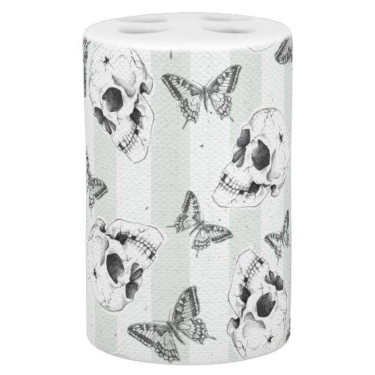 Skulls and butterflies soap dispenser and toothbrush holder