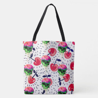 skulls and cherries all over reuseable tote
