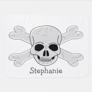 Skulls And Crossbones Just Add Name Baby Blanket