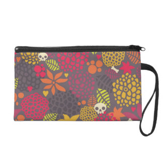 Skulls and flowers. wristlet clutches