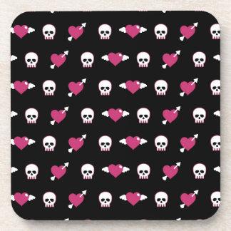 Skulls and hearts beverage coaster
