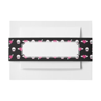 Skulls and hearts invitation belly band