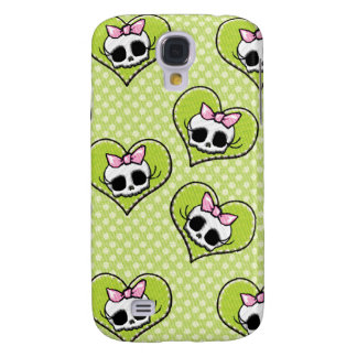 Skulls and Hearts Lime Galaxy S4 Case