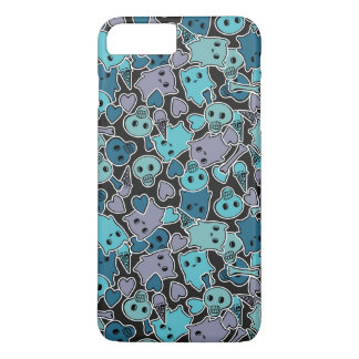 Skulls, and hearts on black background 2 iPhone 8 plus/7 plus case