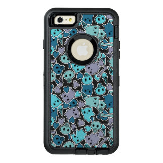 Skulls, and hearts on black background 2 OtterBox defender iPhone case