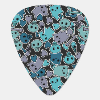 Skulls, and hearts on black background 2 plectrum