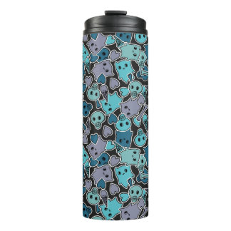 Skulls, and hearts on black background 2 thermal tumbler