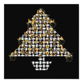 Skulls and Metal Tree 13 Cm X 13 Cm Square Invitation Card