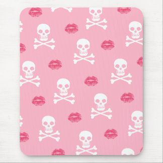 Skulls and Pink Kisses Mouse Pad