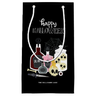 Skulls and Potions Illustrations Happy Halloween Small Gift Bag