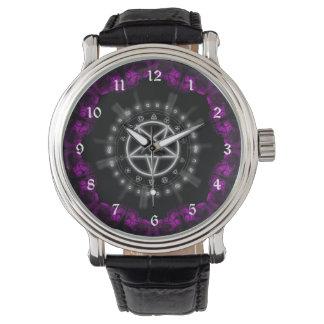 Skulls and Runes Pentagram Goth Art Wrist Watches