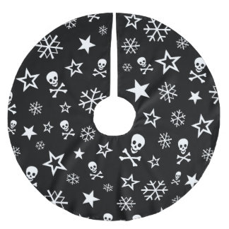 Skulls and Snowflakes Brushed Polyester Tree Skirt