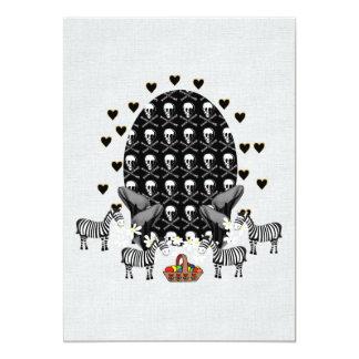 Skulls and Zebras Easter Egg 13 Cm X 18 Cm Invitation Card