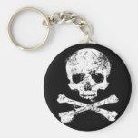 skulls basic round button key ring