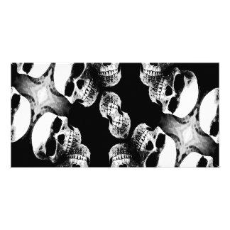 Skulls Black White Customized Photo Card