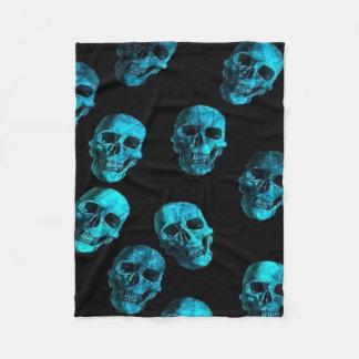 skulls blue 2 fleece blanket