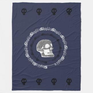 Skulls Blue Black & White Fleece Blanket