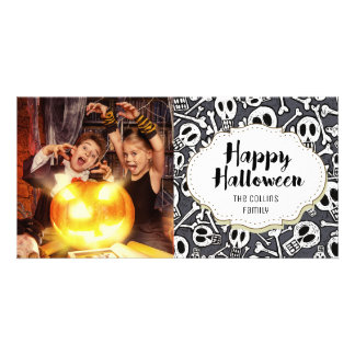 Skulls & Bones Happy Halloween Picture Photo Card