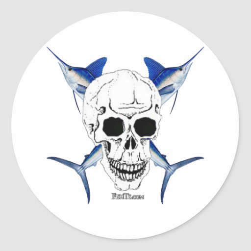 Skulls Collection by FishTs.com Round Stickers