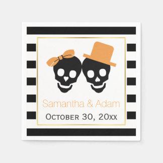 Skulls couple and stripes Halloween wedding Disposable Napkins