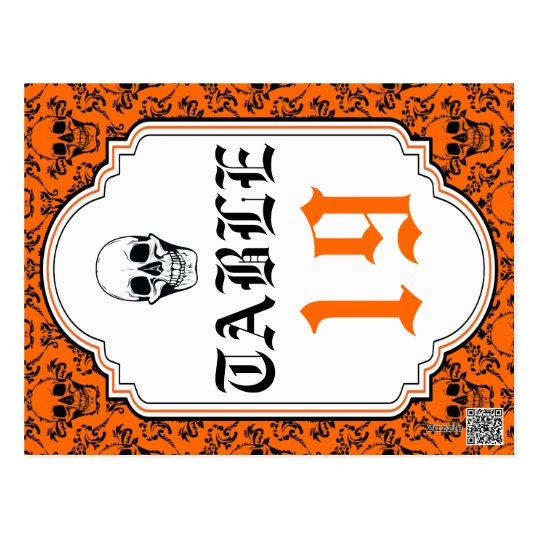 Skulls damask orange, black wedding table number postcard