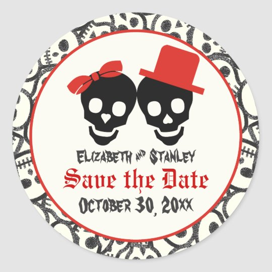 Skulls Halloween red black wedding Save the Date Classic Round Sticker