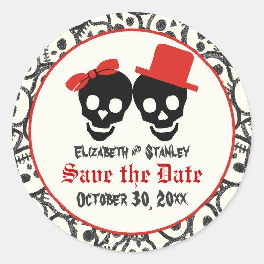 Skulls Halloween red black wedding Save the Date Round Sticker