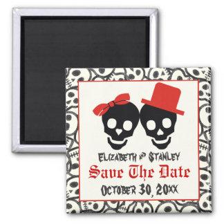 Skulls Halloween red black wedding Save the Date Square Magnet